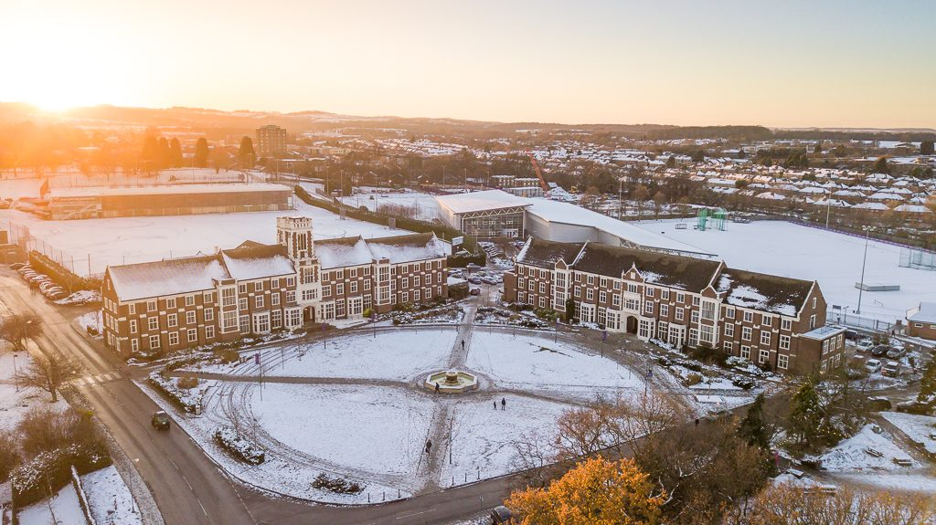 Aerial shot of Hazlerigg and Rutland Buildings at Loughborough University in snow