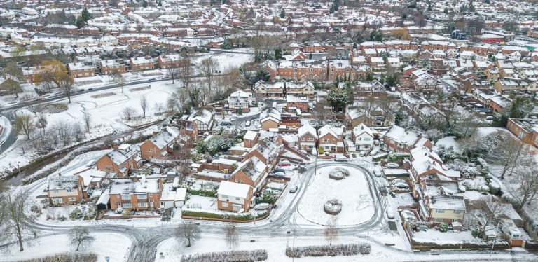 Aerial shot of Loughborough Houses in snow