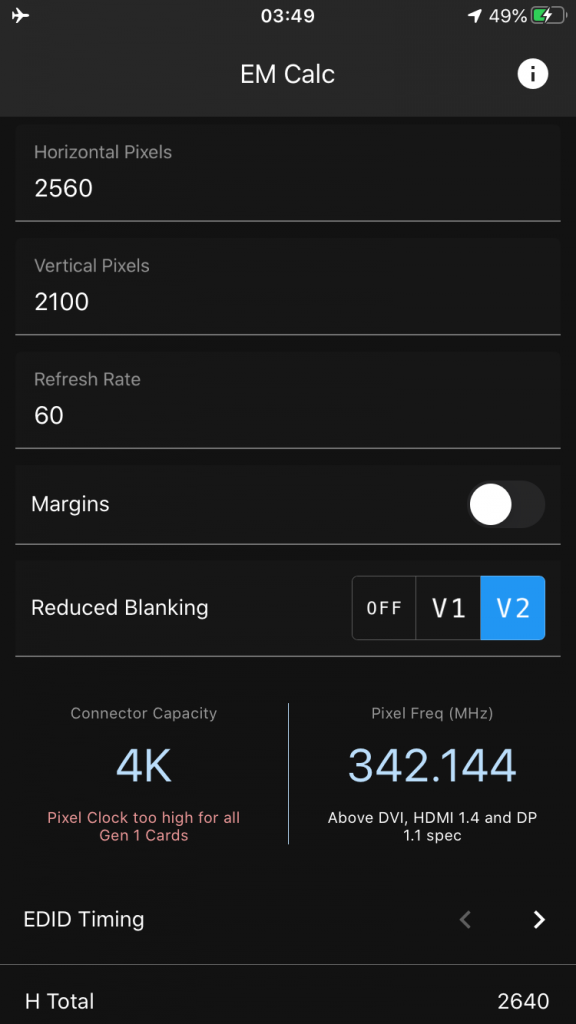 Barco Event Master Custom Format Calculator iPhone App