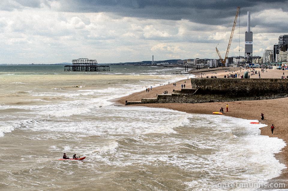 Brighton seaside overcast sea kayaking