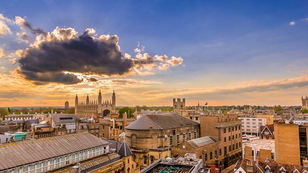 Cambridge skyline taken from Grafton multi-storey carpark