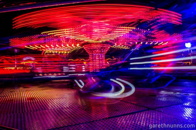 Cambridge fairground attraction long exposure