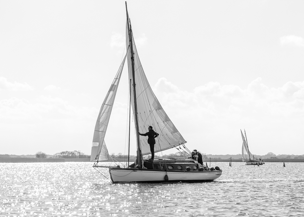 Classic Norfolk Broads Sailing boat on Horsey Broad, hired from Eastwood Whelpton