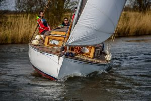 Norfolk Broads Sailing boat, a Japonica from Martham Boats