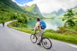 Cycling in Norway between Olden and Briksdalsbreen