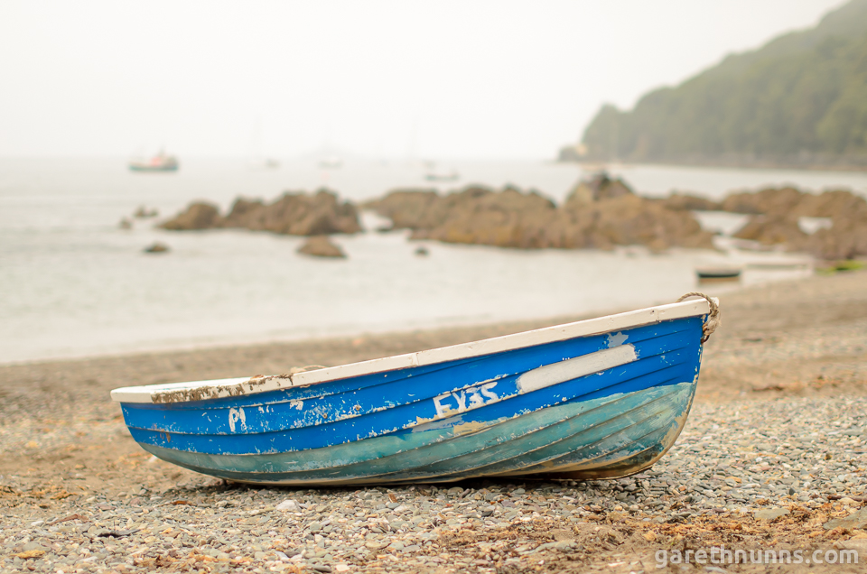 Dinghy boat on the beach in Cornwall