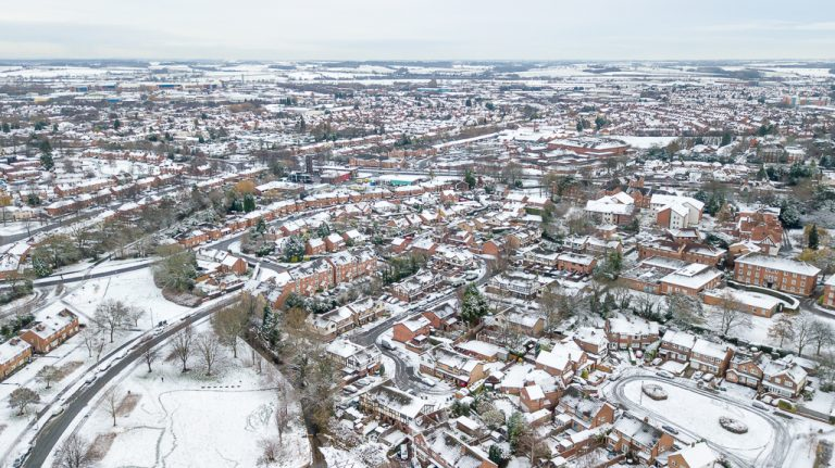 Drone picture of Loughborough in snow