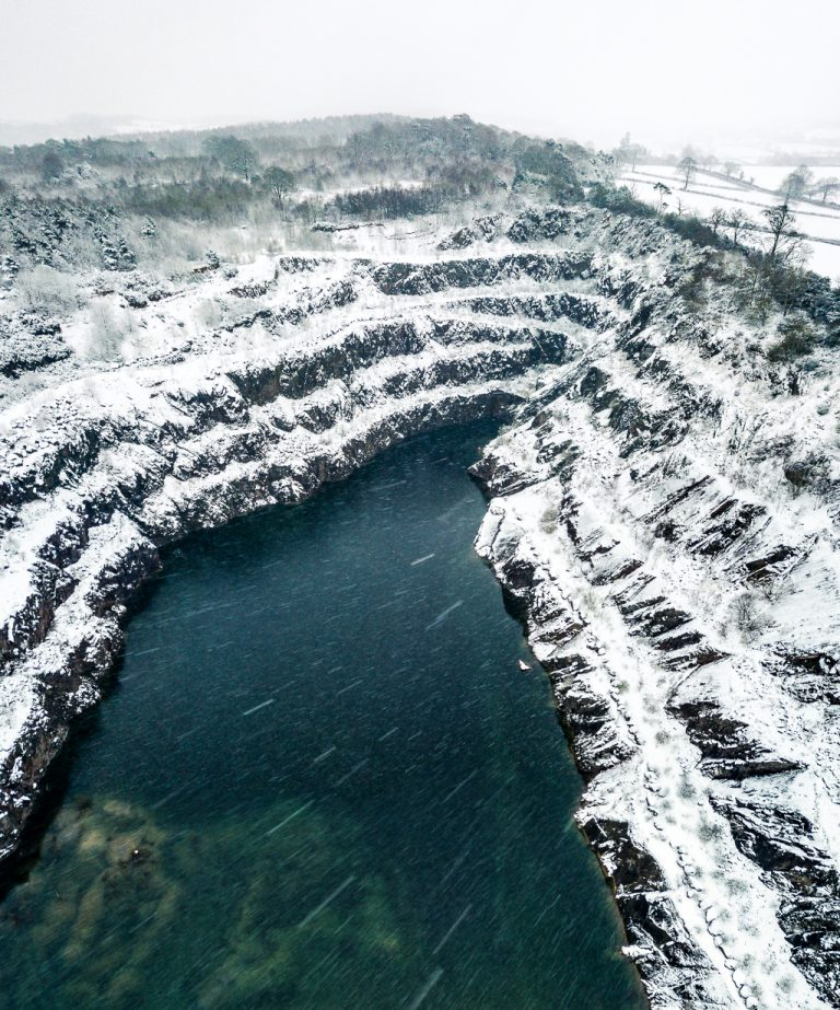 Drone shot of Loughborough Quarry in snow