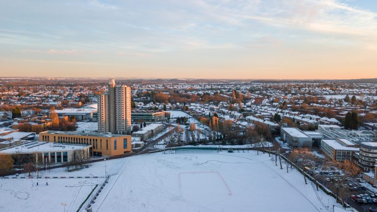 Drone shot of Towers Accommodation at Loughborough University in snow