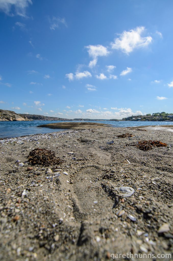 Footsteps on beach in Sweden
