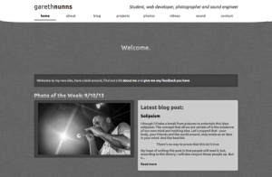 Gareth Nunns 2013 website design