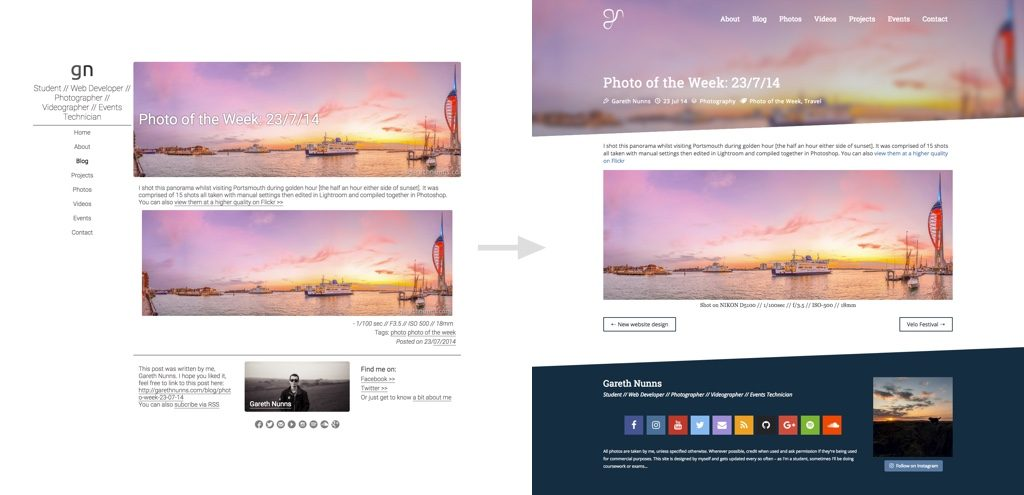 Gareth Nunns 2017 new website design