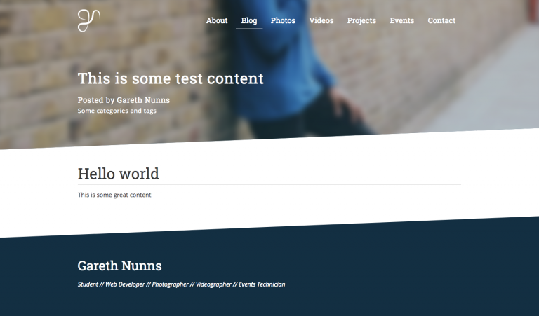 WordPress website design HTML and SCSS mock up