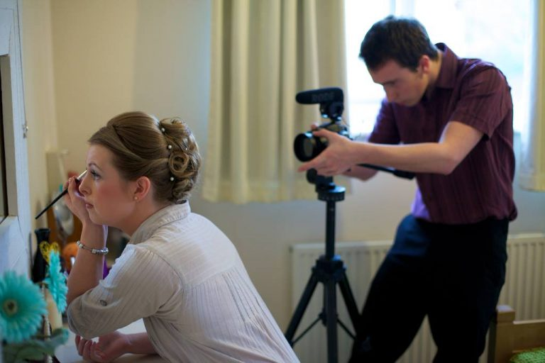 Gareth Nunns filming the wedding of Matt and Sarah Stokes