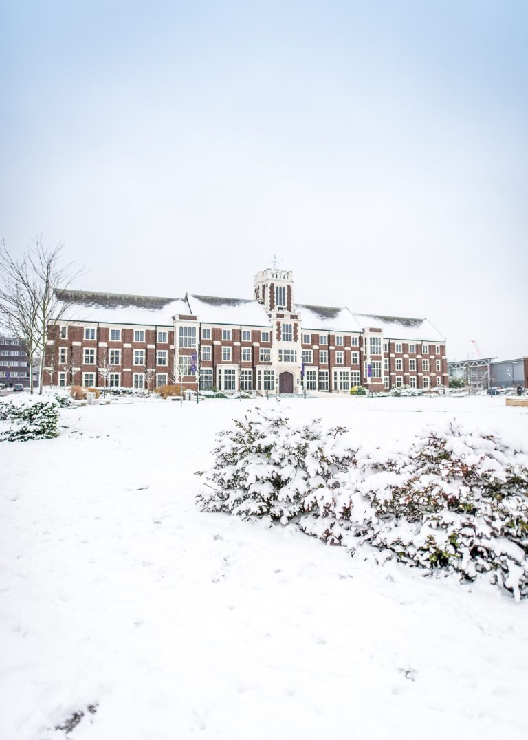 Hazlerigg Building Loughborough University in snow