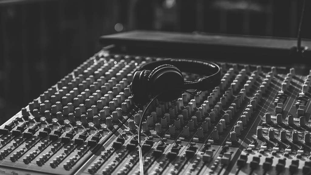Headphones on mixing desk