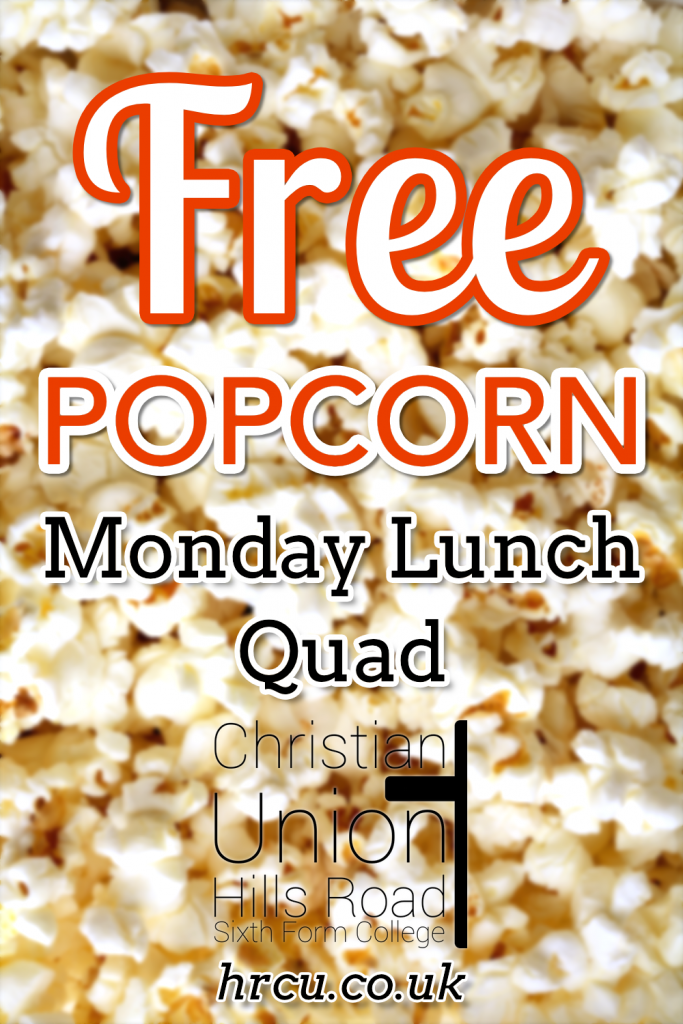 Hills Road Christian Union Free Popcorn poster