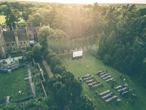 Aerial photo of The Star and Mouse Picture Show outdoor cinema at Lanwades Hall