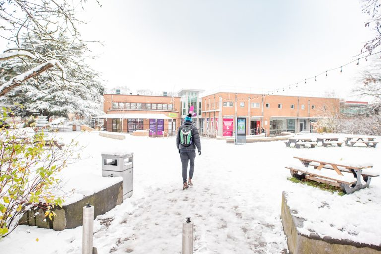Loughborough Students' Union in snow