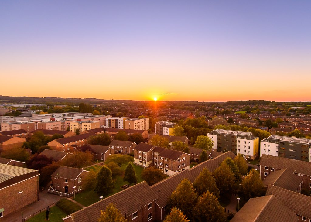 Loughborough University campus at sunset, taken from Whitworth tower