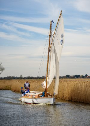 Classic Norfolk Broads Sailing boat, a Japonica from Martham Boats