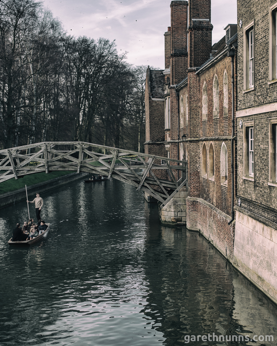 Mathematical Bridge Cambridge with punt underneath