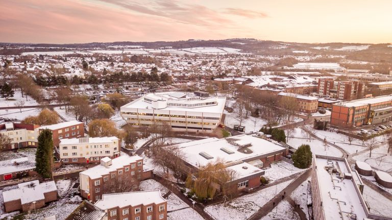 Pilkington Library in snow from drone