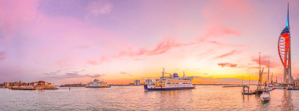 Portsmouth docks panorama