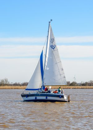 Norfolk Broads Sailing boat on Horsey Mere, hired from Eastwood Whelpton