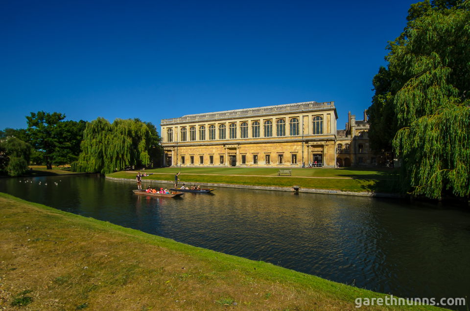 The Wren Library with punts in Trinity College Cambridge