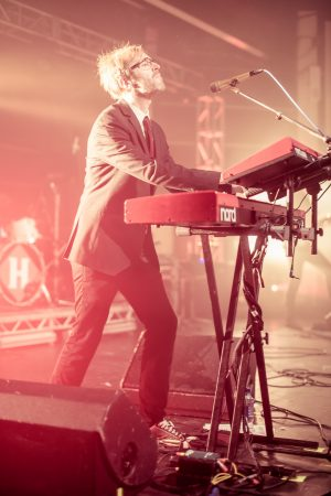 The Hoosiers keyboard player performing live in Loughborough