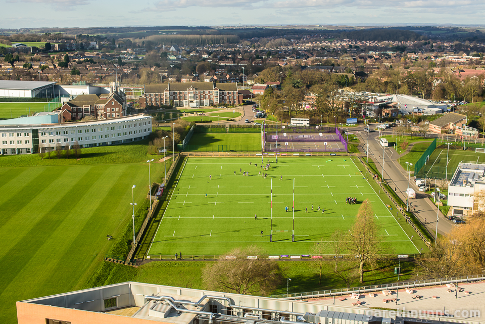 View from Towers Accommodation - Loughborough University rugby pitch