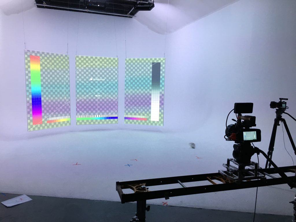 Projection mapping with Resolume for Yumi Zounma Truth or Consequences (Alternate Versions) video shoot at Hackney Studios during July 2020