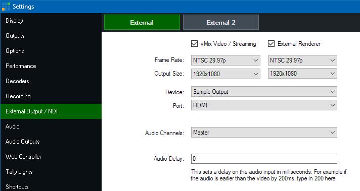 vMix External Output Window